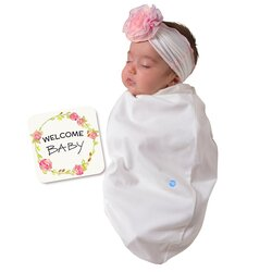 BABYjoe Chiffon Rose Baby Cocoon Swaddle with Hat and Announcement Card for Baby Girls, 0-4 Months, White