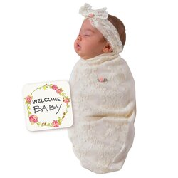 BABYjoe Lace Blossoms Baby Cocoon Swaddle with Hat and Announcement Card for Baby Girls, 0-4 Months, Beige