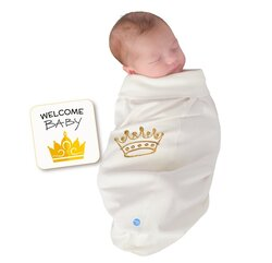 BABYjoe Crown Baby Cocoon Swaddle with Hat and Announcement Card for Babies, 0-4 Months, White