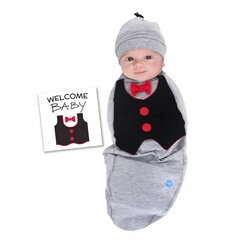 BABYjoe Big Shot Baby Cocoon Swaddle with Hat and Announcement Card for Baby Boys, 0-4 Months, Grey