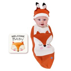 BABYjoe Fox Baby Cocoon Swaddle with Hat and Announcement Card for Babies, 0-4 Months, Orange
