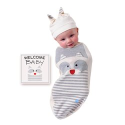 BABYjoe Raccoon Baby Cocoon Swaddle with Hat and Announcement Card for Babies, 0-4 Months, Grey
