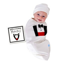 BABYjoe Tuxedo Baby Cocoon Swaddle with Hat and Announcement Card for Baby Boys, 0-4 Months, White