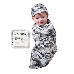 BABYjoe Camo Baby Cocoon Swaddle with Hat and Announcement Card for Babies, 0-4 Months, Grey