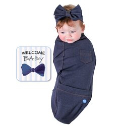 BABYjoe Blue Jean Baby Cocoon Swaddle with Hat and Announcement Card for Babies, 0-4 Months, Blue