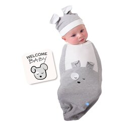 BABYjoe Happy Pup Baby Cocoon Swaddle with Hat and Announcement Card for Babies, 0-4 Months, Grey