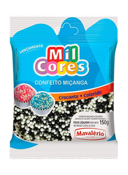 Mavalerio Mil Cores White and Black Non Pareils Sprinkles Bakery and Cupcake Decorating, 150g