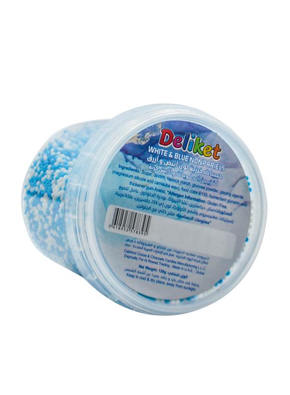 DeliketNon-Pareils Sprinkles for Bakery Cake & Ice Cream Decoration, White & Blue, 120g