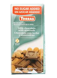 Torras Sugar Free Milk and Almond Chocolate Tablet Bar, 75g