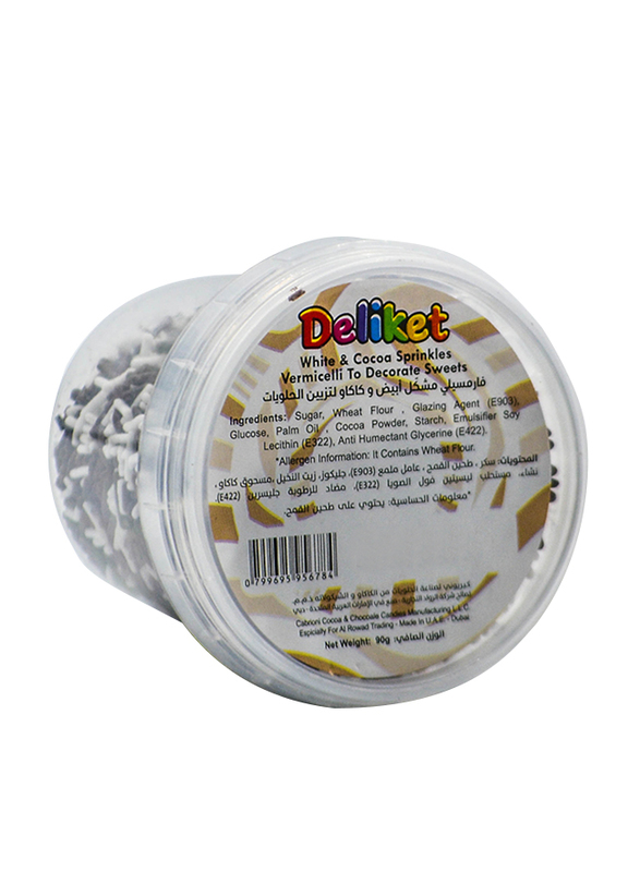 DeliketWhite & Cocoa Vermicelli Sprinkles, 90g