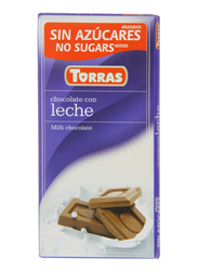 Torras Sugar Free Milk Chocolate Tablet Bar, 75g
