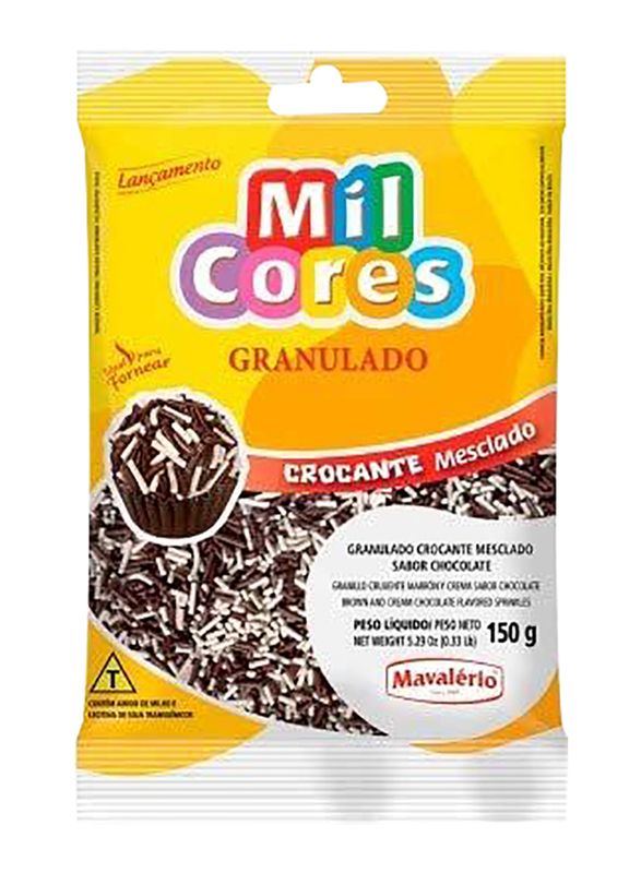 Mavalerio Mil Cores Brown and Cream Chocolate Flavored Sprinkles, 150g