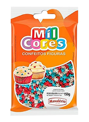 Mavalerio Mil Cores Star Shaped Sprinkles Bakery and Cupcake Decorating, White/Blue/Red, 150g