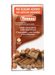 Torras No Added Sugar Milk Chocolate With Hazelnut Tablet Bar, 75g