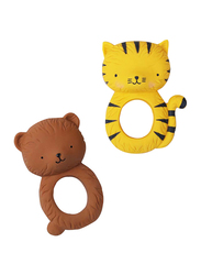A Little Lovely Company Teething Ring, Tiger, Yellow