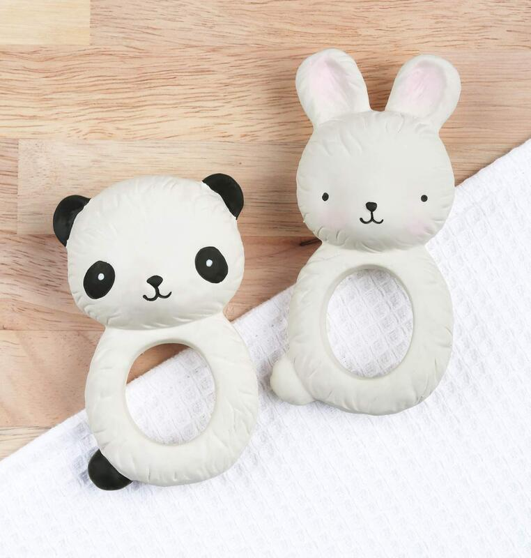 A Little Lovely Company Bunny Natural Rubber Teething Ring, Beige