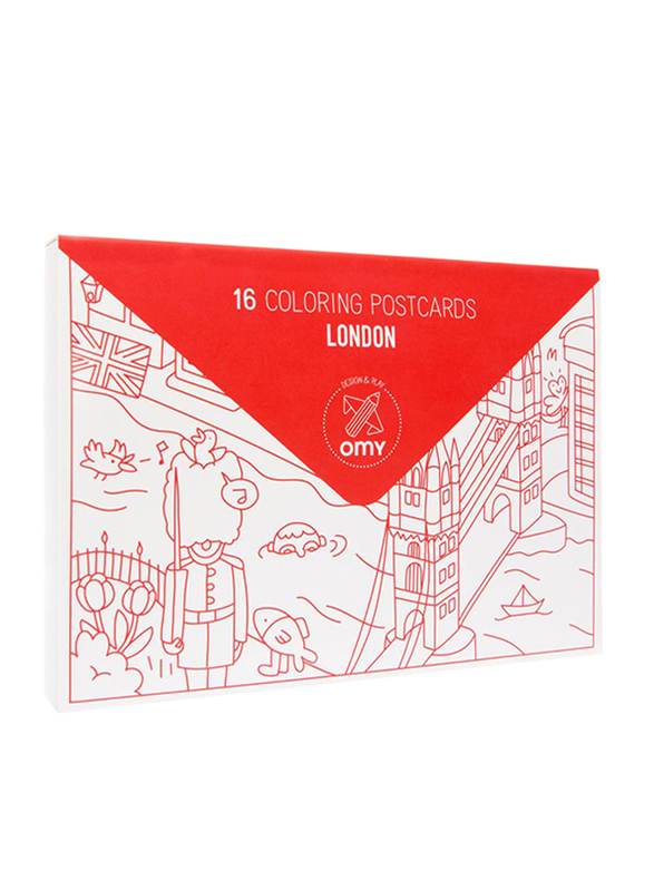 OMY London Coloring Postcards, 16 Pieces, Ages 3+