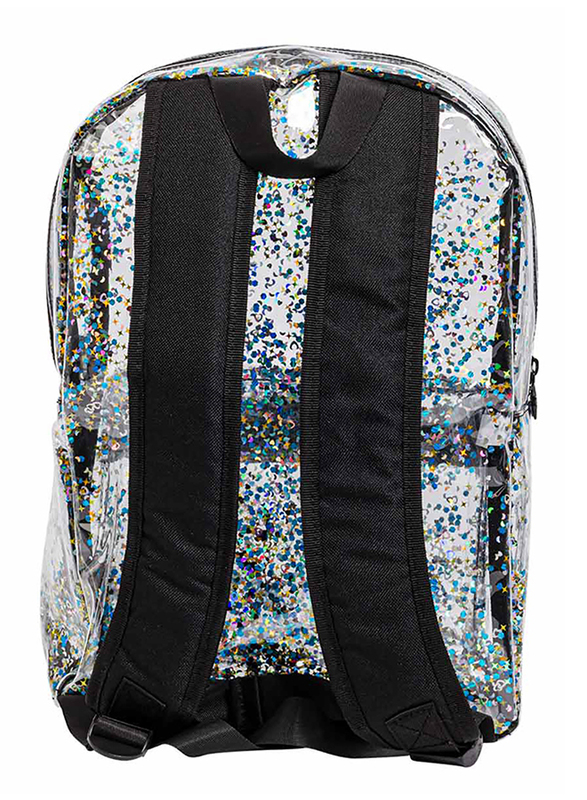 A Little Lovely Company Glitter Backpack Bag for Girls, Black/Transparent