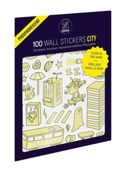OMY Glow in the Dark City Wall Stickers Set, 100 Pieces, Ages 3+
