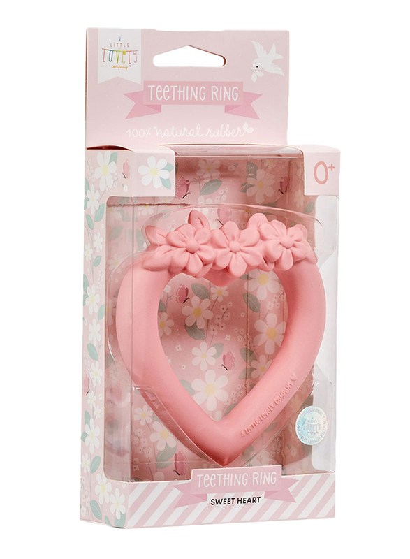 A Little Lovely Company Teething Ring, Sweet Heart, Pink