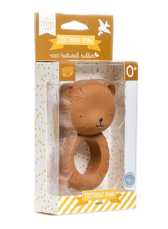 A Little Lovely Company Teething Ring, Bear, Brown