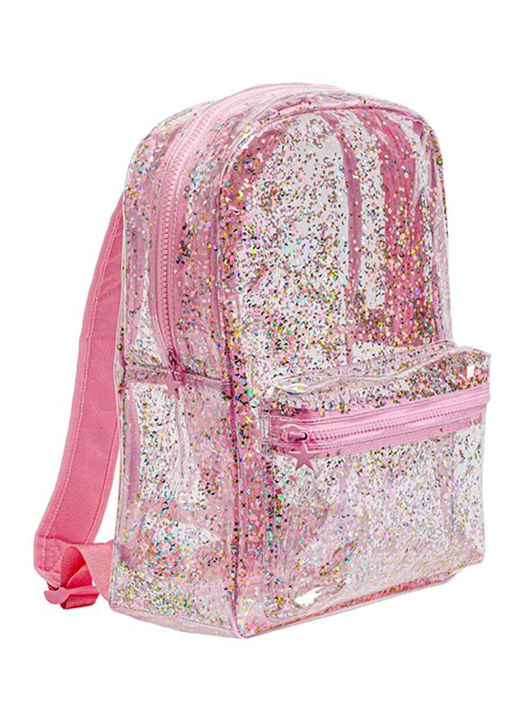 A Little Lovely Company Glitter Backpack Bag for Girls, Pink/Transparent