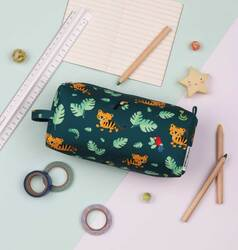 A Little Lovely Company Jungle Tiger Pencil Case for Boys, Green