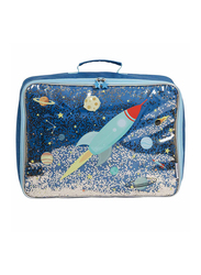 A Little Lovely Company Glitter Space Suitcase for Kids, Blue