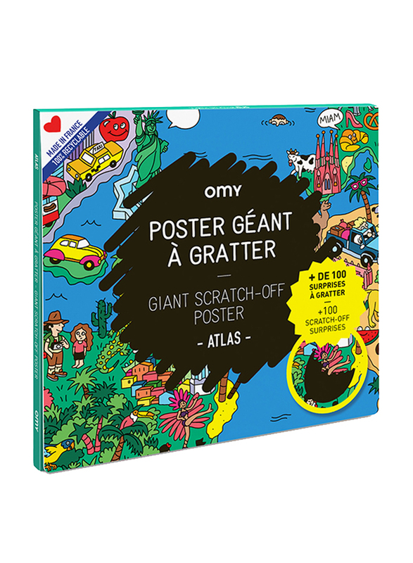 OMY Scratching Atlas Large Poster, Ages 3+