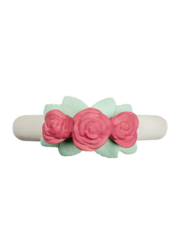 A Little Lovely Company Teething Ring, Rose Bud, White