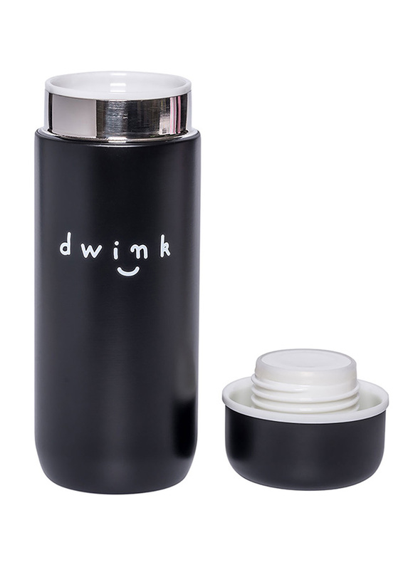 A Little Lovely Company Drink Insulated Stainless Drink Bottle, 200ml, Black