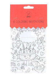 Omy Invitation Cards Birthday Set, 8 Piece, Black/White