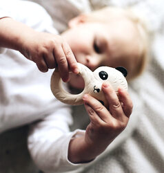 A Little Lovely Company Panda Natural Rubber Teething Ring, Beige
