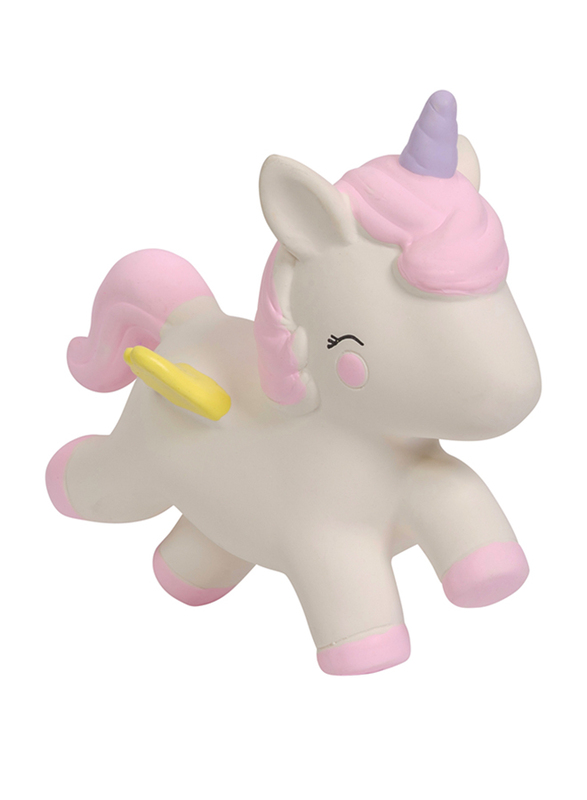 A Little Lovely Company Unicorn Natural Rubber Teething Toy, Pink/White