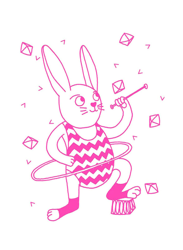 Omy Glow In The Dark Bunny Wall Poster, Pink
