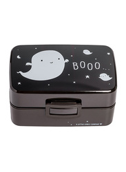 A Little Lovely Company Ghost PP Plastic Lunch Box, 800ml, Black