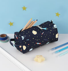 A Little Lovely Company Space Pencil Case for Boys, Blue
