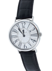 Prestige Analog Unisex Watch with Leather Band, Water Resistant, 21174 3P-AR, Black-Grey
