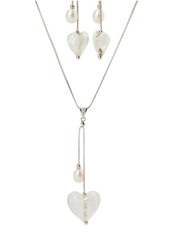 Equss Sterling Silver Earrings and Necklace Set for Women with White Heart Shape Crystal Stone and Pearl Pendant, White