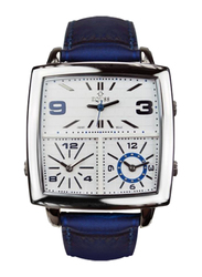 Equss Sirus Analog Unisex Watch with Leather Band, Water Resistant, EQS7090013A, Blue-White