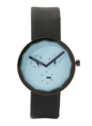Issey Miyake Twelve Analog Unisex Watch with Leather Band, Chronograph, 365 ISM60005, Black-Blue