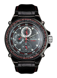 Equss Riviera Analog Watch for Women with Leather Band, Water Resistant and Chronograph, EQS6090042TWICYRD, Black