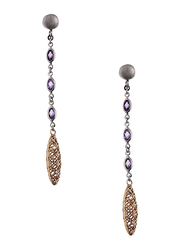 Equss Sterling Silver Drop & Dangle Earrings for Women with Purple Crystal Stone, Gold/Silver/Purple