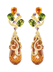 Equss Sterling Silver Drop & Dangle Earrings for Women with Orange/Red/Green Crystal Stone, Orange/Gold/Green