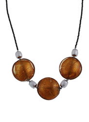 Equss Sterling Silver Black Necklace for Women with Brown Crystal Stone and White Pearl, Brown