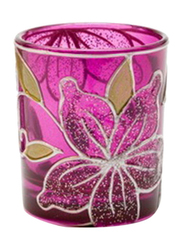 Libra 7cm Cylindrical Tea Light Indoor/Outdoor Candle Holder, 2-Pieces, Purple/Gold