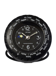Atop 5.5cm World Time Indoor Alarm Clock, Black