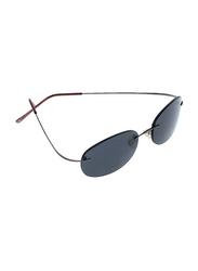 Lancaster Shock Men Polarized Rimless Oval Sunglasses, Black Lens, SUN02B, 60/25/120