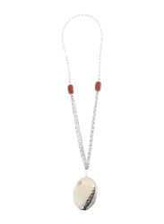 Equss Sterling Silver Necklace for Women with White Pearl Pendant, White
