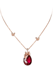 Equss 925 Sterling Silver Rose Gold Necklace for Women with Red Synthetic Stone, Rose Gold